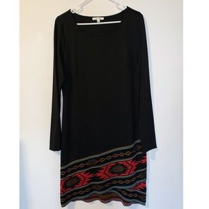 Long Sleeve Black & Aztec Design Dress
